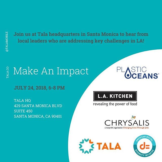 Join us Tuesday July 24 to hear from innovative local leaders addressing key challenges in LA! Hosted by Tala's Founder & CEO @shivsiroya, the event will feature intimate fireside chats with @thelakitchen's @robertegger, @plasticoceans' Julie Andersen, @chrysalisla's Bianca Smith and the American Digital Diversity Initiative's Peter Rojas. Register at https://bit.ly/2NiqZDY