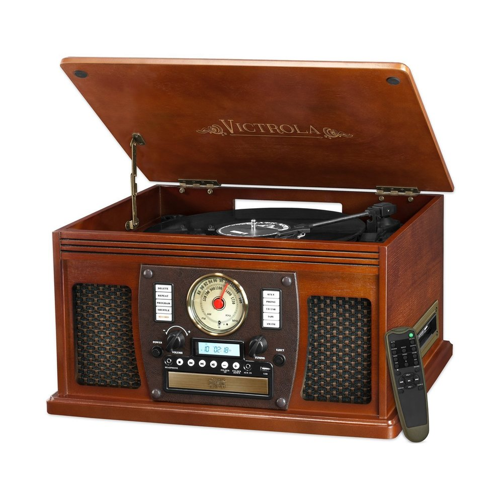 Victrola Nostalgic Aviator Wood 8-in-1 Bluetooth Turntable Entertainment Center best turntable under $200