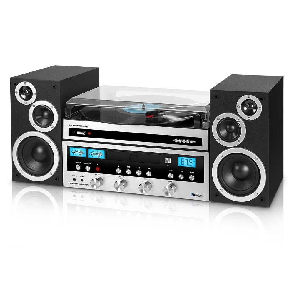 Innovative Technology Classic Retro Bluetooth Stereo System Best Turntable under $200