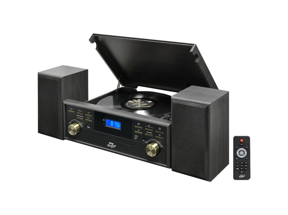 Pyle PPTCM80BTGR Vintage Retro Classic Style Bluetooth Turntable Speaker System Best Turntable under $200