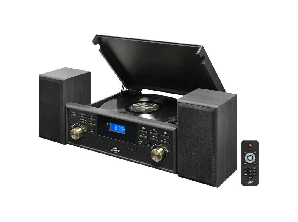 Pyle PPTCM80BTGR Vintage Retro Classic Style Bluetooth Turntable Speaker  System Best Turntable Under $200