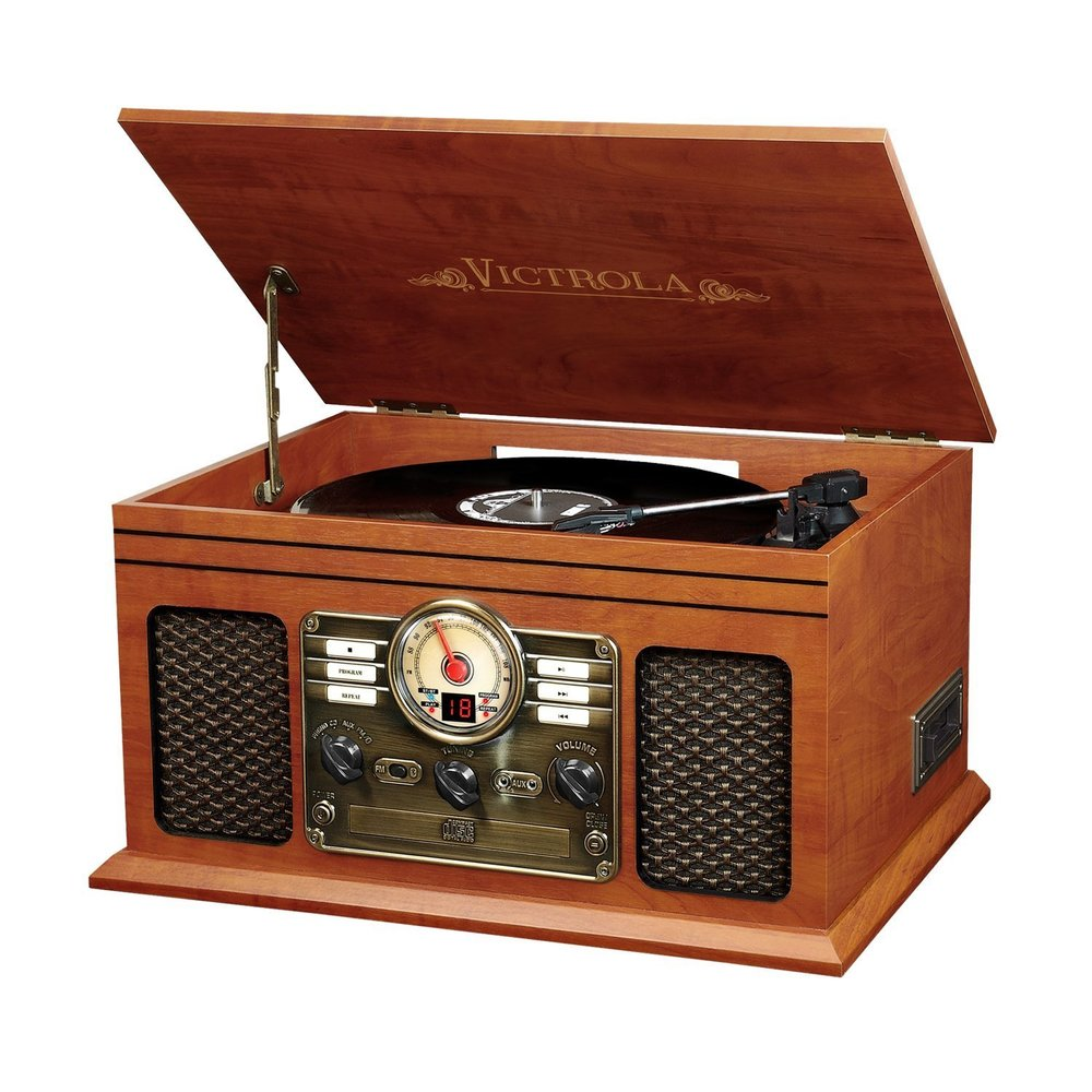 Victrola Nostalgic Classic Wood 6-in-1 Bluetooth Turntable Entertainment Center Best Vintage Turntable