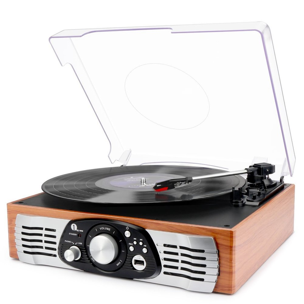 1byone Belt-Drive 3-Speed Stereo Turntable Best Vintage Turntable