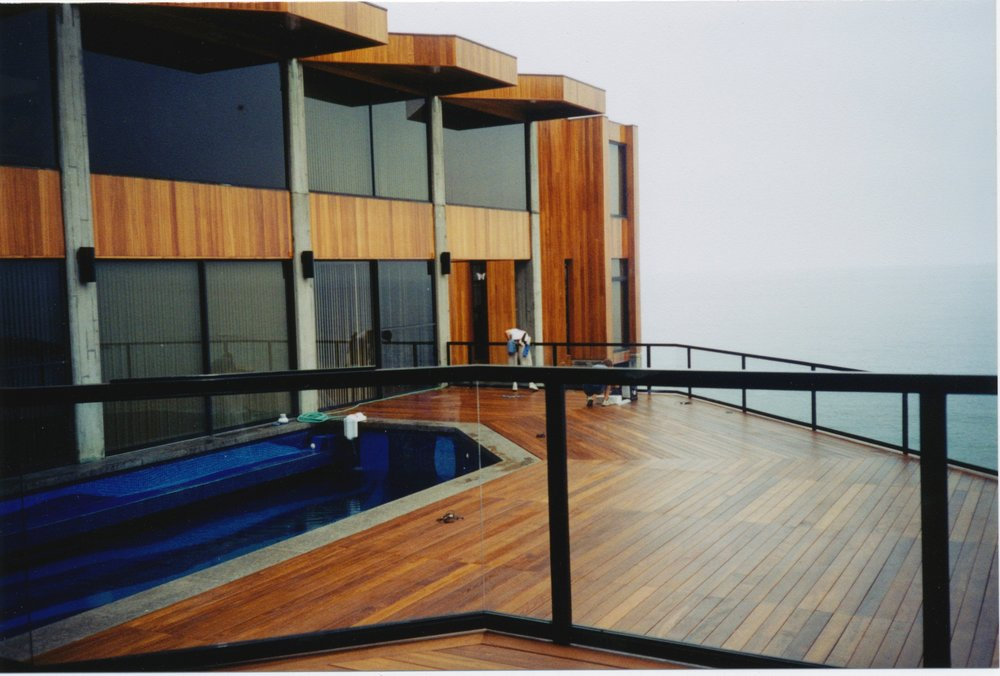 Completed deck and glass rail with Mahogany resealed, 1999