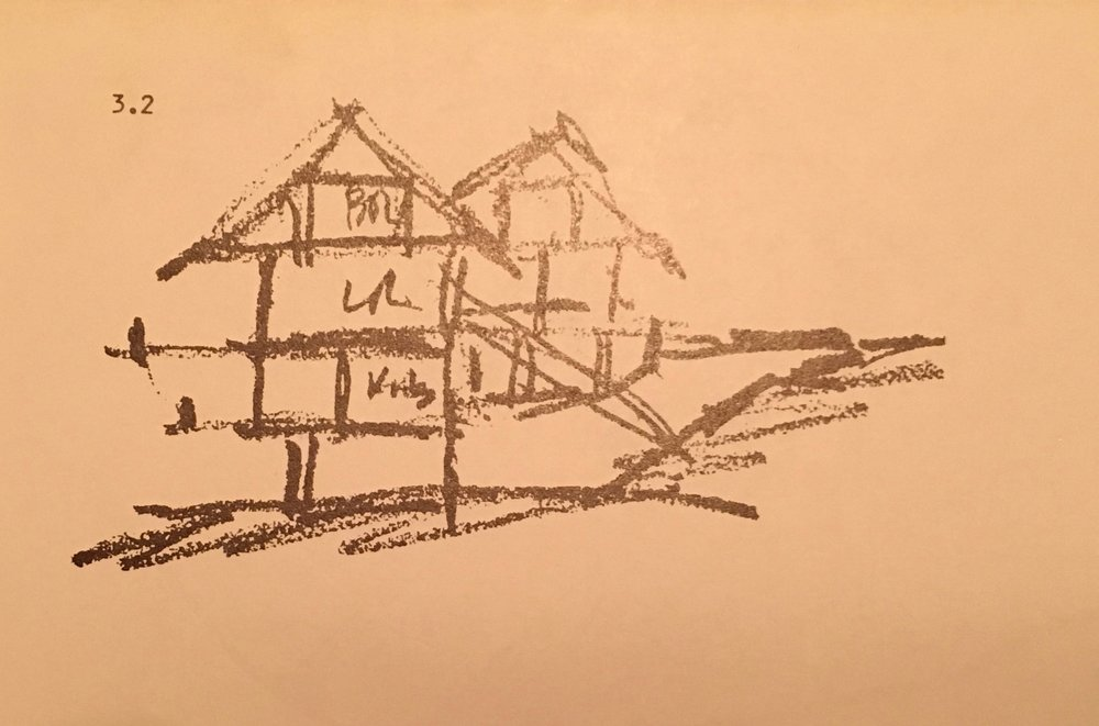 When my Dad moved our family to Laguna Beach and bought a lot in a gully with a water course running through it, he told Lamont Langworthy he could design the house however he wanted as long as he used roof trusses. Lamont and my Dad came up with the attic truss for the top floor and master bedroom area.
