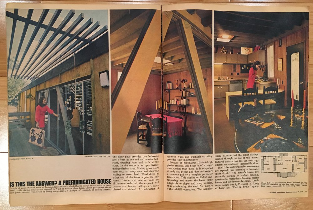 Los Angeles Times Home Magazine in 1970.  There were 100 of these units built and placed throughout California.