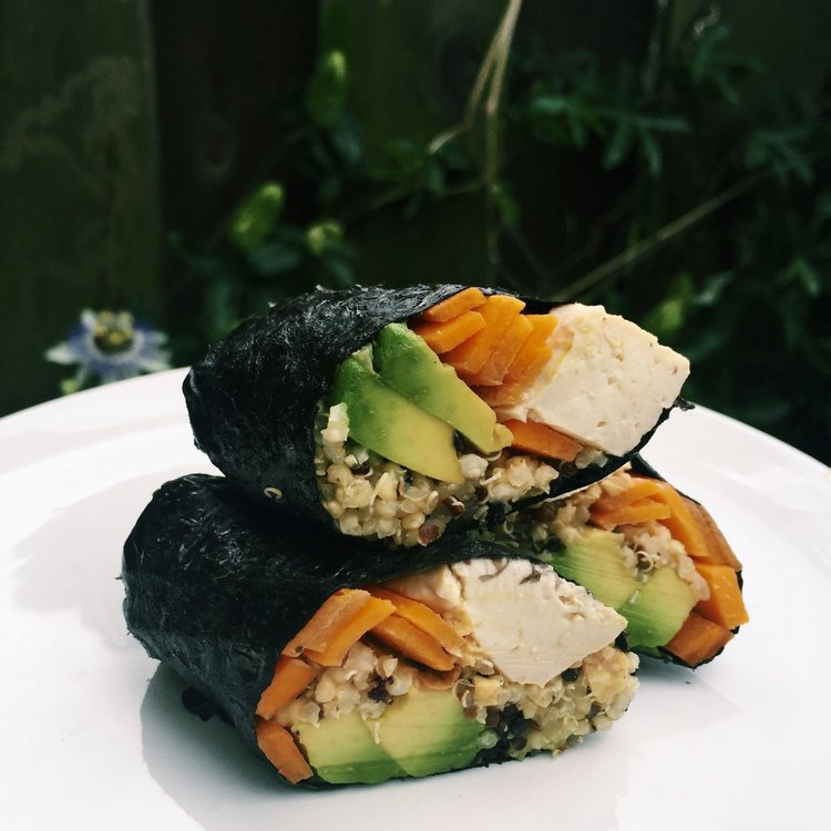 TOFU VEGGIE NORI WRAPS WITH PEANUT DIPPING SAUCE