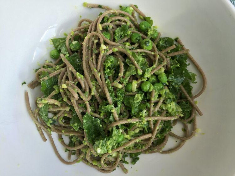 SOBA NOODLES WITH PARSLEY PEA PESTO