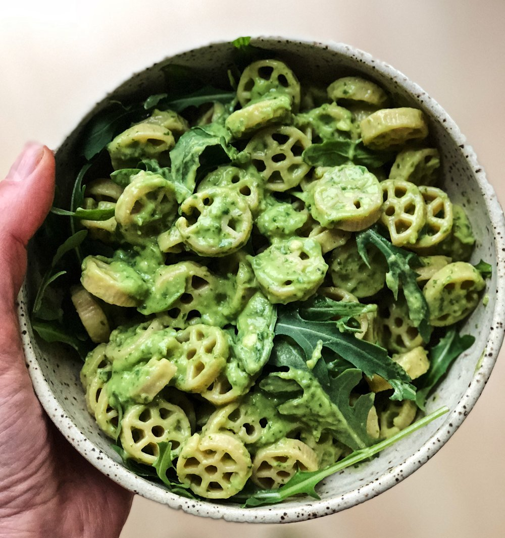 Chickpea Pasta with Avocado Pesto Sauce and Arugula