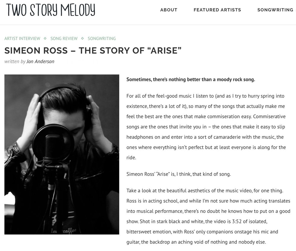 A huge thanks to  Two Story Melody  for the interview and for featuring the   'Arise  ' Music Video!   http://twostorymelody.com/simeon-ross-story-arise/