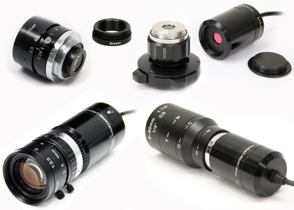 A variety of C-Mount compatible microscopic lenses.