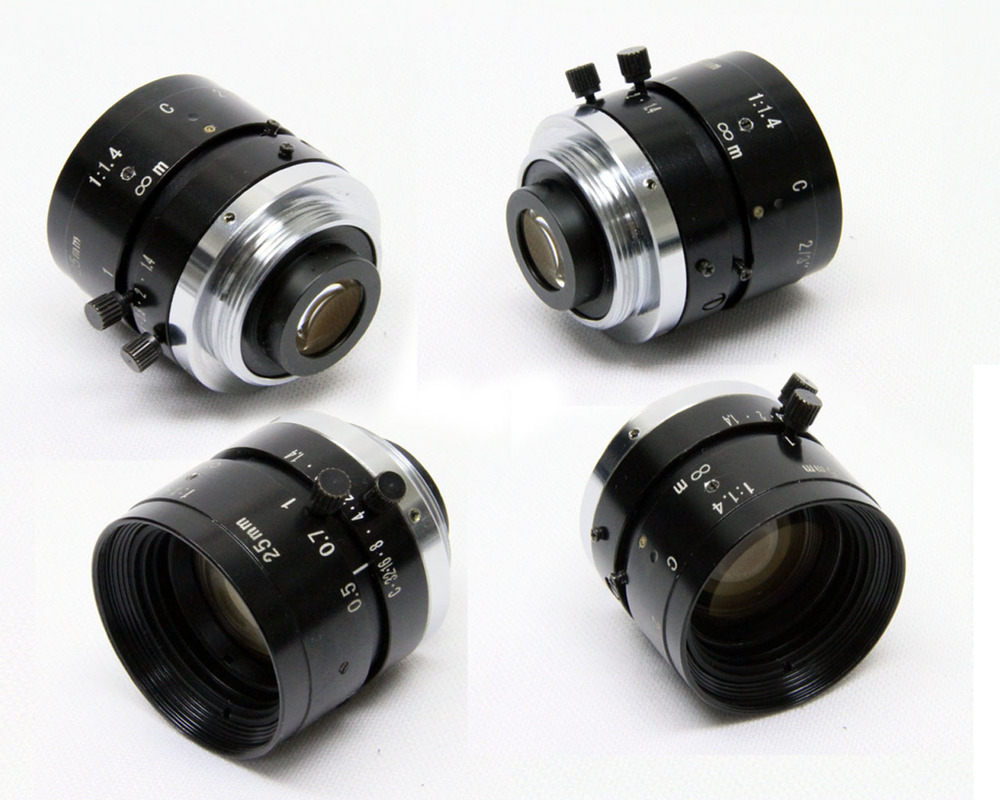 A variety of angles of the microscopic lens attachment for C-Mount cameras