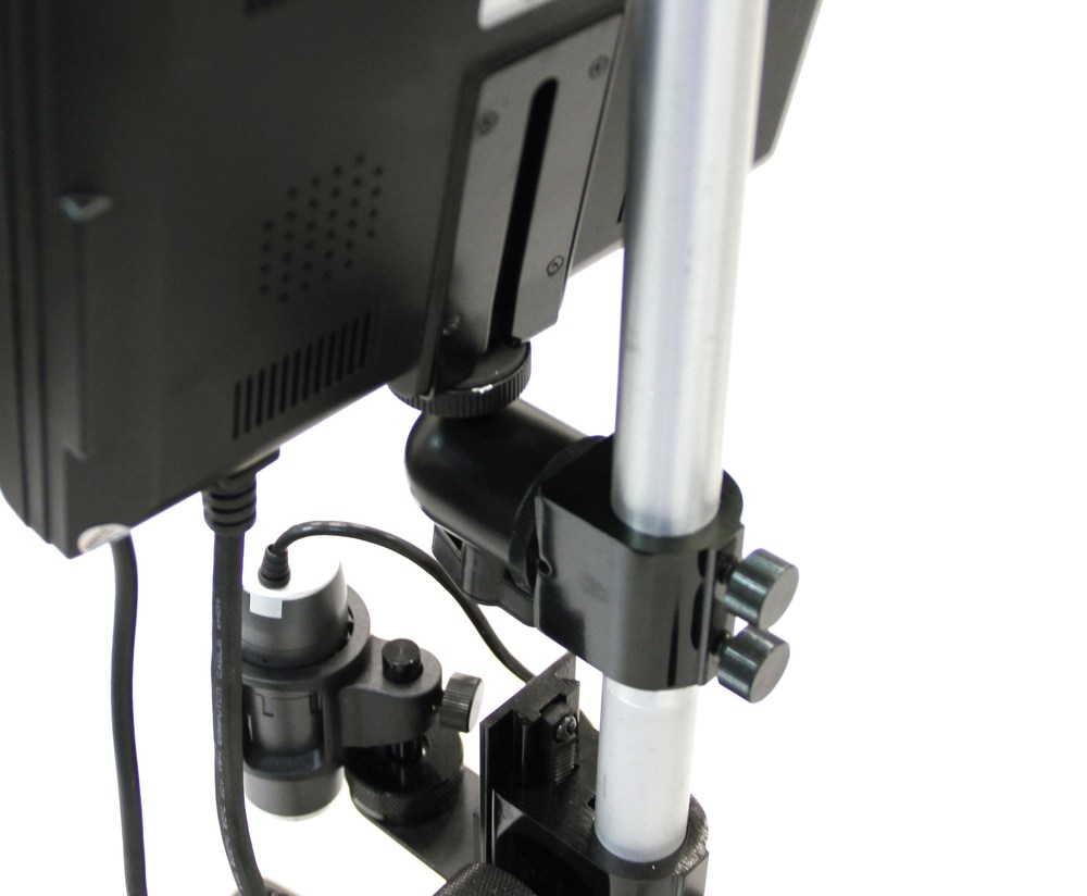A custom monitor mount attached to a stand for a Dino-Lite microscope.