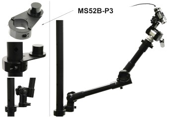 Custom mount used in conjunction with 360 degree arms to allow microscopes to be positioned securely.