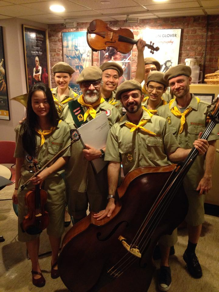 Dressed up as scouts for a Lar Lubovitch show