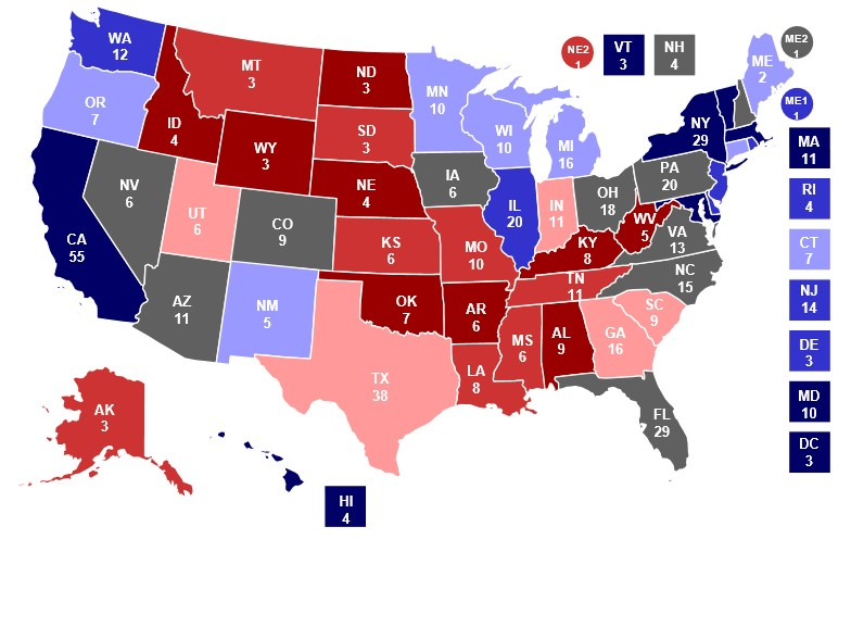 The Presidential polls are showing a very close race between Clinton and Trump. It may be the closest in years.  Photo from realclearpolitics.com.
