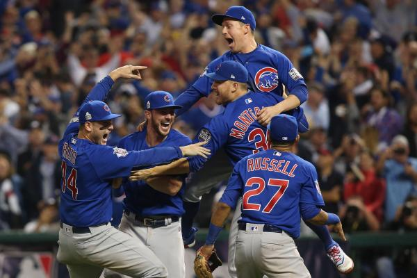 (From right to left) Anthony Rizzo, Kris Bryant, Mike Montgomery, Chris Coghlan, and Addison Russell celebrate after the Cubs made the final out to win the World Series at Progressive Field in Cleveland, OH. Image from   UPI.co  m