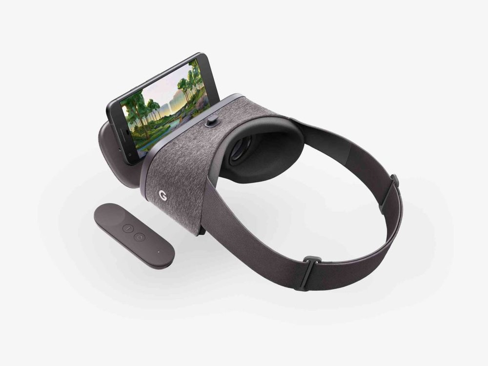 Picture of the Daydream View Headset with a Google Pixel and included remote. Source is the Wired Website.
