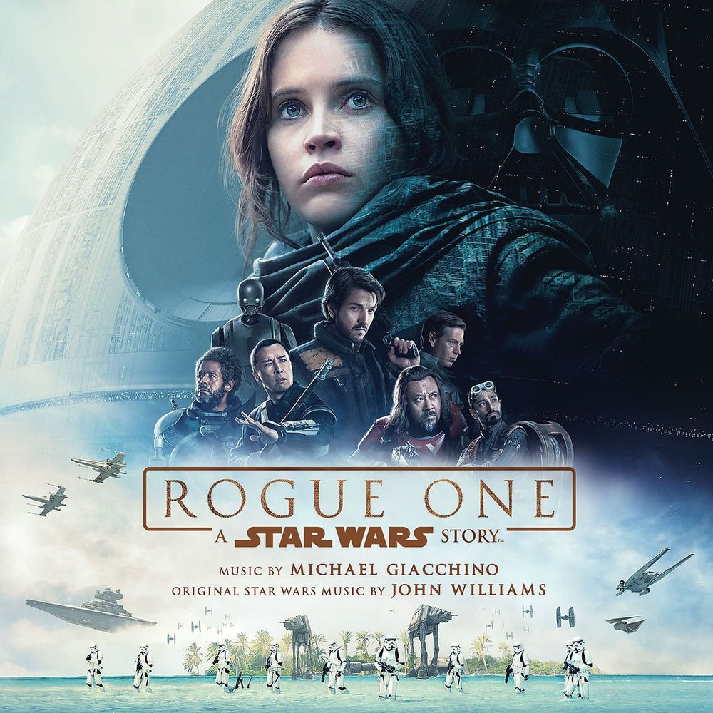 The album cover for the soundtrack to  Rogue One: A Star Wars Story  composed by Michael Giacchino.  This album is the first not composed by John Williams, much to the initial upset of fans.  Image from itunes.apple.com.