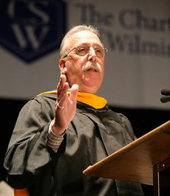 Mr. Satalino, chair of the Math department at Charter delivers a speech at the graduation of the Class of 2016. Photo courtesy of Lucy Zuo.