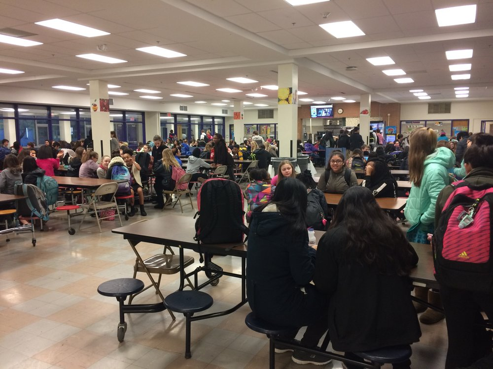 This is the current school cafeteria.  Over the summer of 2017, it will be remodeled.  Photo by the author of this article.