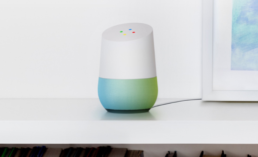 "Source: The Verge, This picture displays the Home's customization and response lights which appears when someone uses the phrase ""Hey Google""."