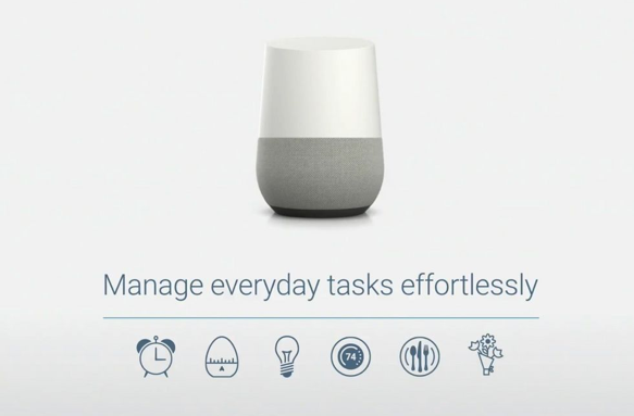 Source: Google, A Google product slide demonstrating the many functions of the Home.