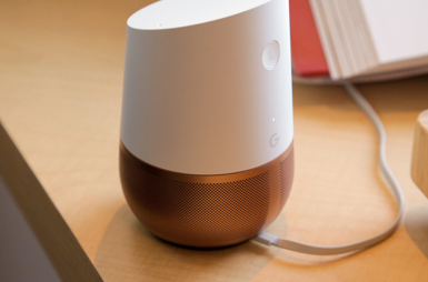 Source: The Verge, The Google Home with a prominent mute button due to privacy concerns.