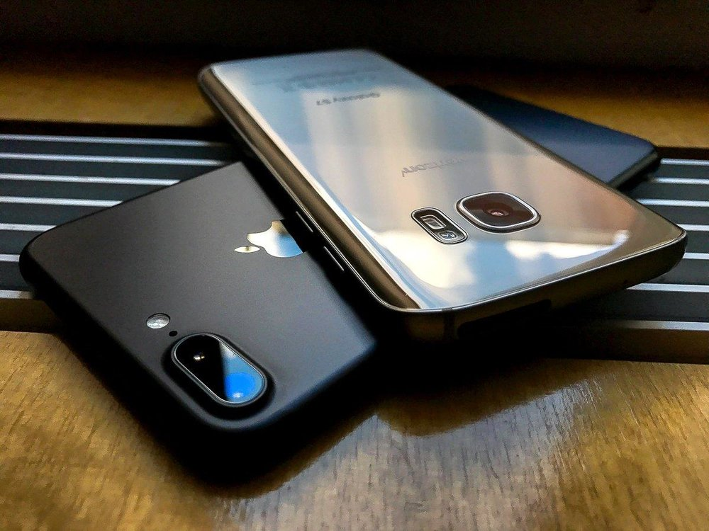 Two of the latest smartphones on the market: the iPhone 7 and the Samsung Galaxy s7. Better smartphones like these have contributed to the social media boom.  Photo from businessinsider.com.