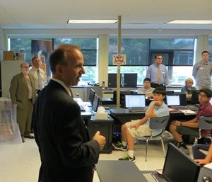 Gov. Jack Markell visits Charter's computer lab, then recently furnished with a Smartboard.  Photo from newsworks.org, 2012.