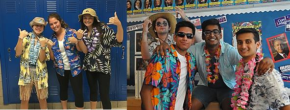From left to right: Sophomores Morgan Balan, Katie Ford, and Isabel Lugar and juniors Patrick Hogan, Rishabh Sud, Anudeep Chennuri, and Ishan Kasat rock their tropical outfits. Photo from Yearbook Club.