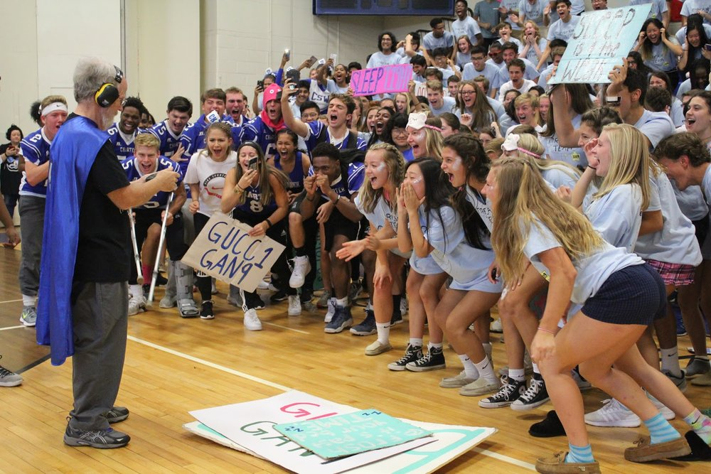 The Class of 2019 make some noise for Stover's Loud-O-Meter before their memorable win. Photo from Yearbook Club.