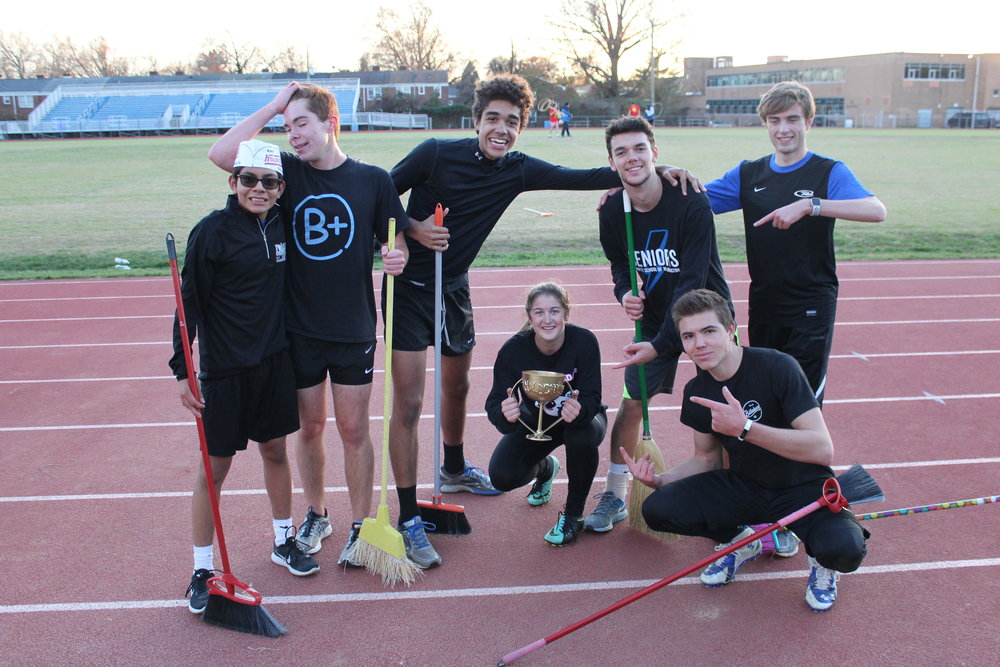 Team Bobeill won the champiosnhip, with, from left to right, Seeker Walt Schroeder, freshman, Beater Patrick O'Neill, senior, Keeper Kuno Haimbodi, senior, Chaser Sophia Gulotti, junior, Beater Patrick Brady, senior, Chaser Sam Lynch, senior, and Chaser JT Gannon, senior. The tournament was exciting as ever! Photo by Satvika Kadiyala.