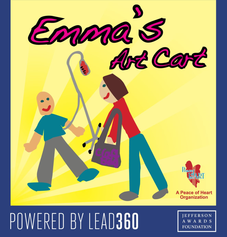 Emma's Art Cart is a 2017 Lead360 winner and is sponsored by the Jefferson Awards Foundation. Photo courtesy of http://www.playmsp.com/MSP-Love/emmas-art-cart.