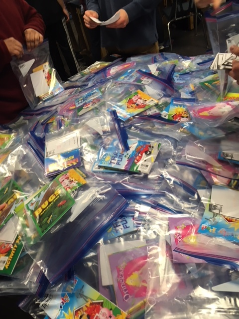 A small portion of the 10,055 kits assembled. Photo courtesy of Henna Castle