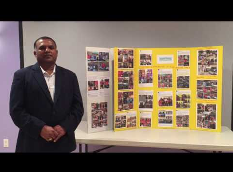 The founder of Charity Crossing, Jay Muthukamatchi, gives a presentation on the charity. Photo from YouTube.