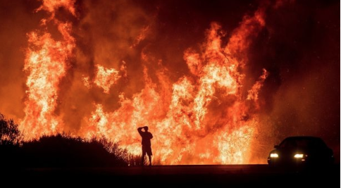 California during wildfires. Photo by Noah Berger/Associated Press