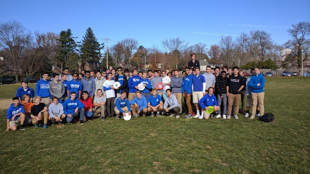 The Charter Ultimate Frisbee team arrayed on the softball field. With dozens of members, ultimate frisbee has become a major club sport at CSW. Photo courtesy of Wade Poon.