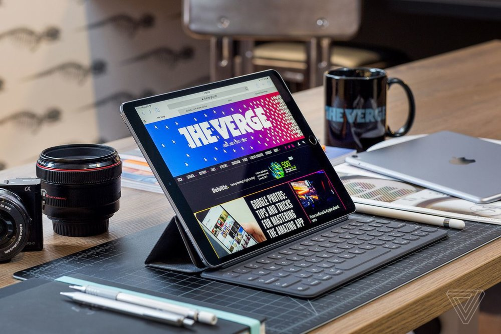 Source: The Verge,   The Verge's iPad Pro review showed the iPad Pro with a keyboard and pencil.