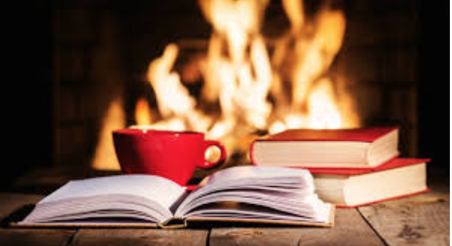 What better way can one spend the holiday than with a book by a cozy fire? Photo from    www.bookstr.com   .