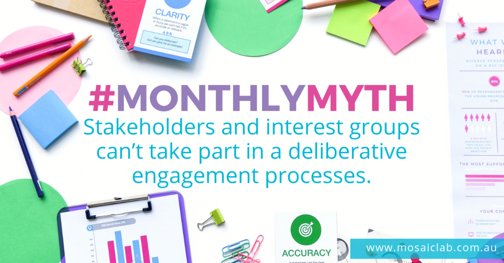 Monthly community engagement myth - stakeholder involvement in deliberative engagement processes with random selection