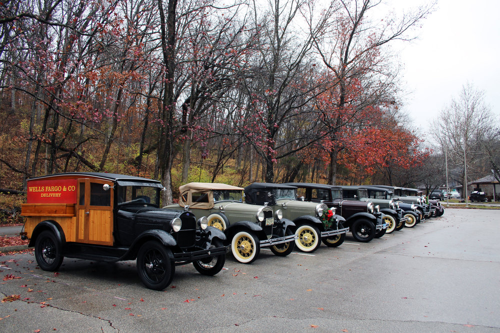 "Nine Model A's battled the poor weather and came ""rain or shine"""