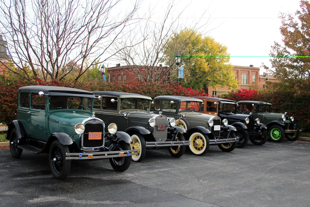 Five of the Model A's in front of Sqwires