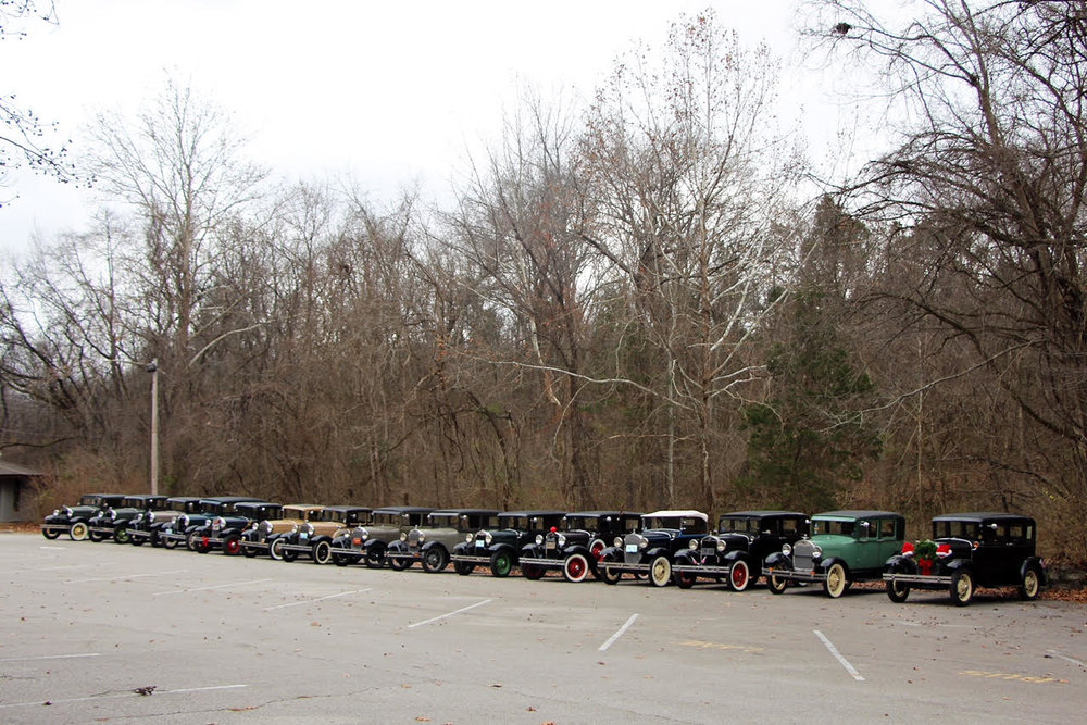 Group of 15 Model A's all in a line!