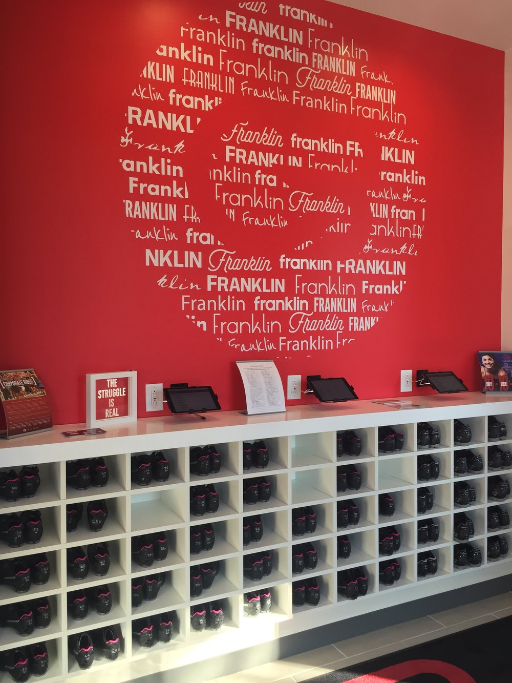 Check-in station at Cyclebar.