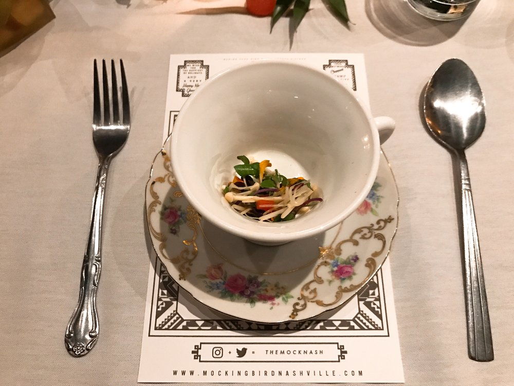 What's the Tea? :  Wild Mushroom Consomme with Pickled Enoki