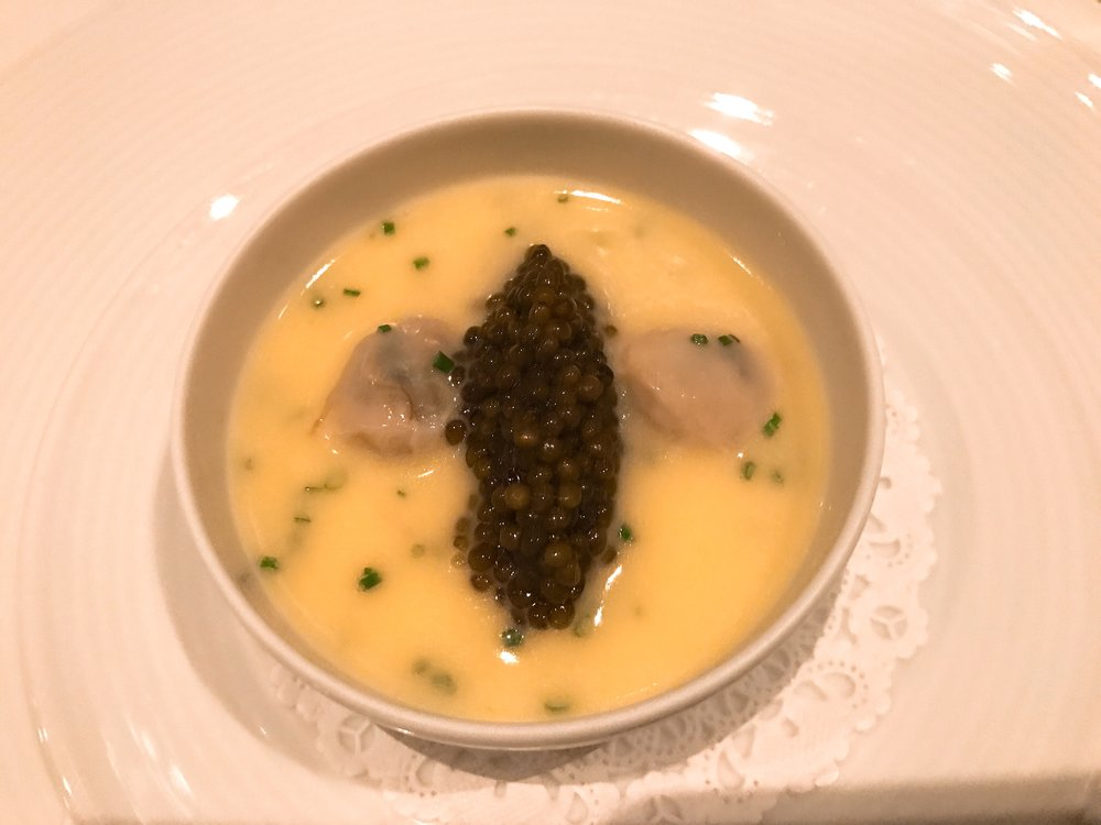 Oysters and Pearls:    Sabayon of Pearl Tapioca with Island Creek Oysters and Golden Osetra Caviar