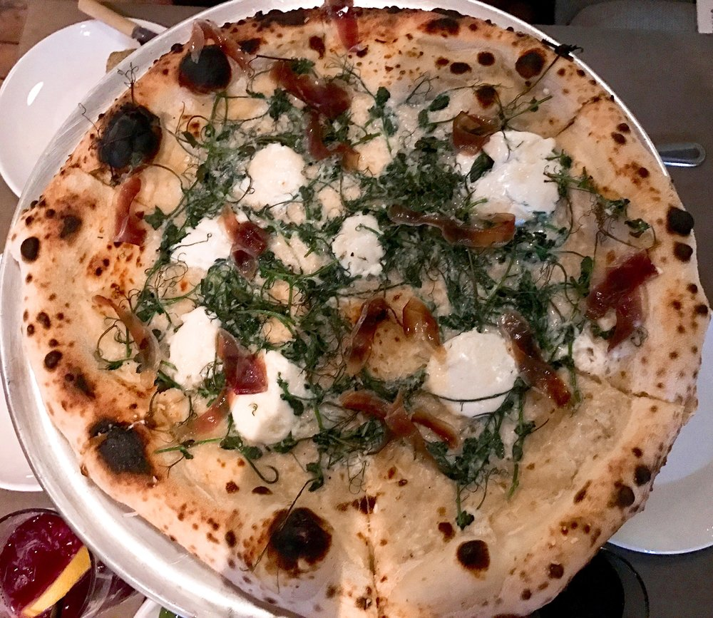 Daily White Pie :  Shaved brussel sprouts, duck prosciutto, and mozzarella