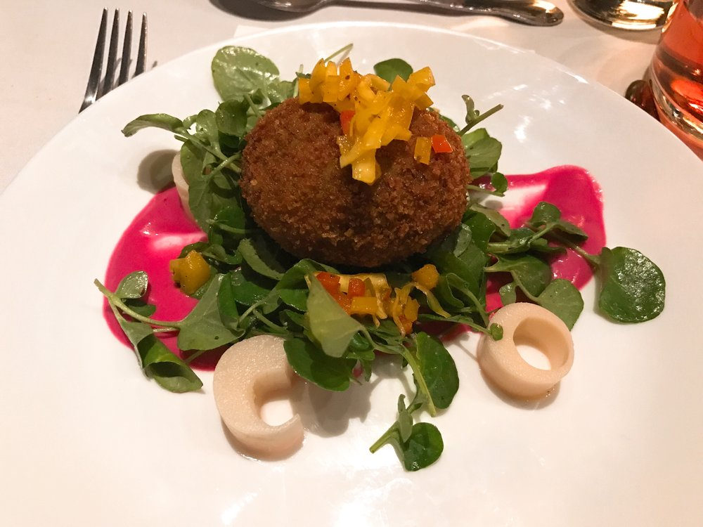 Heart Skips a Beet:   Kerala Beef Scotch Egg, Hearts of Palm, Beet-Curry Puree, Mixed Greens