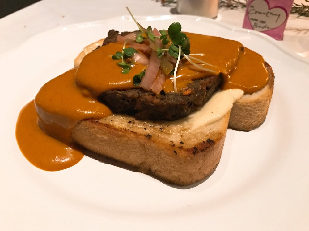 Three's Company:   Pancetta-Sirloin-Chorizo Loaf, Adobo Gravy, Charpier's Pullman Loaf